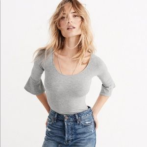 Abercrombie and Fitch Grey Flared Bodysuit